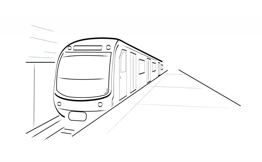 Sketch of a Metro/Subway - An underground Train at a Platform