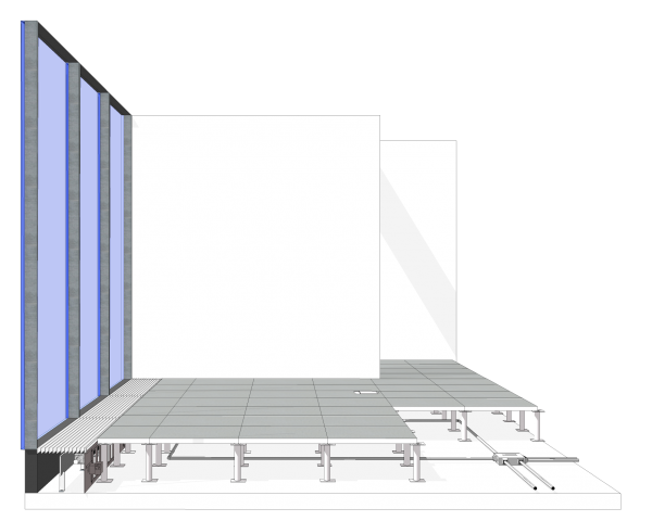 Floor panels are attached to pedestals and accurately adjusted to be laser level across the entire floor plate